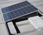 An example of self-ballasted photovoltaic solar panels.