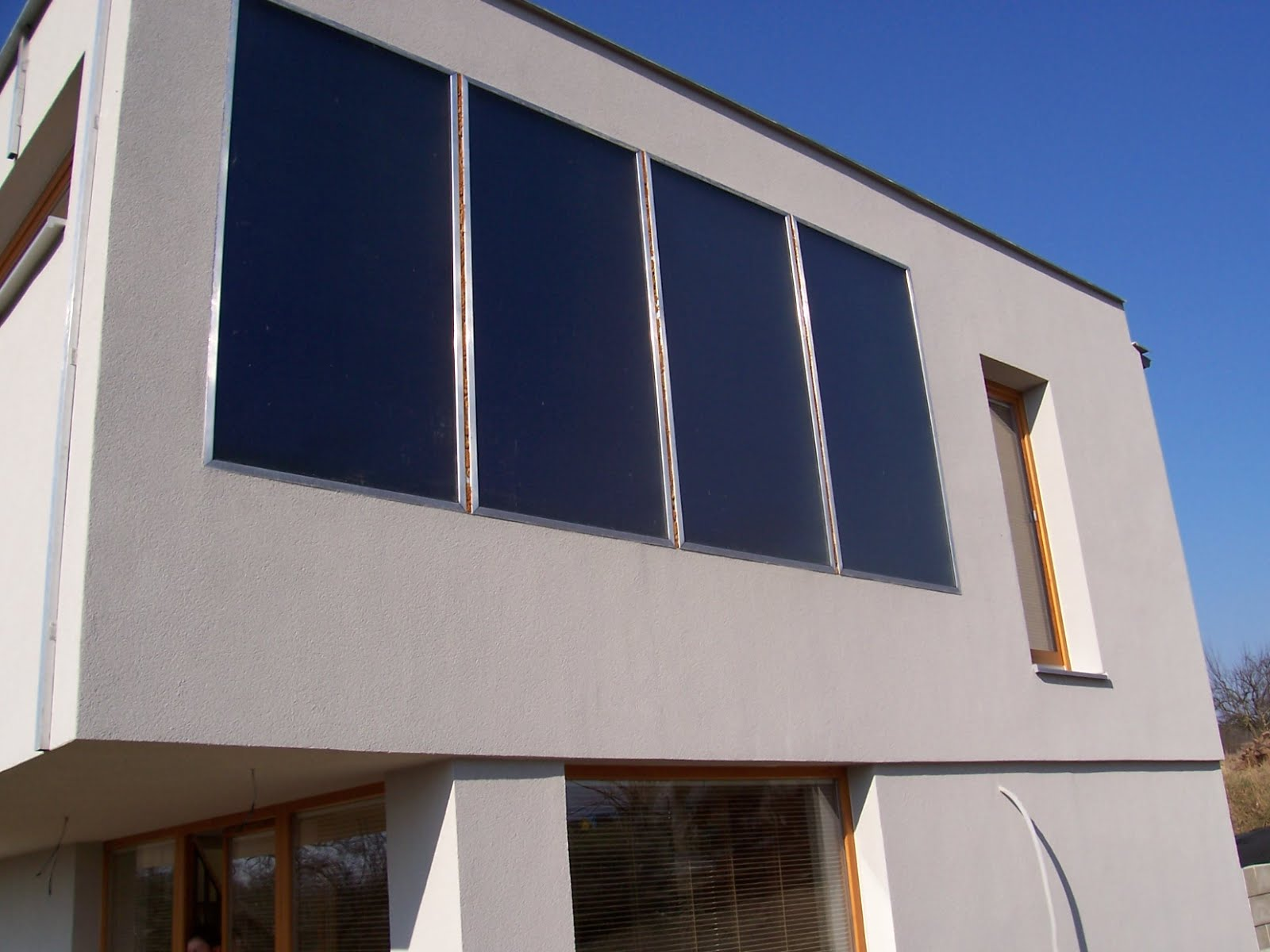 An example of a vertically mounted solar-panel system.