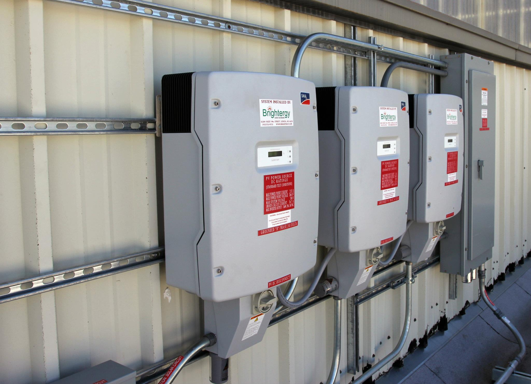 Solar Inverters at Cross Midwest's solar-power installation