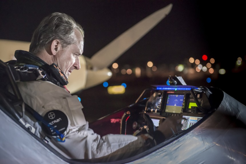 Across America 2013: Preparing for takeoff in its 2nd leg of the Solar Impulse's journey cross-country is pilot Andre Borschberg. The solar plane landed in Dallas Fort Worth from Phoneix yesterday; its next leg will bring it to St. Louis, Missouri. Photo via Solar Impulse