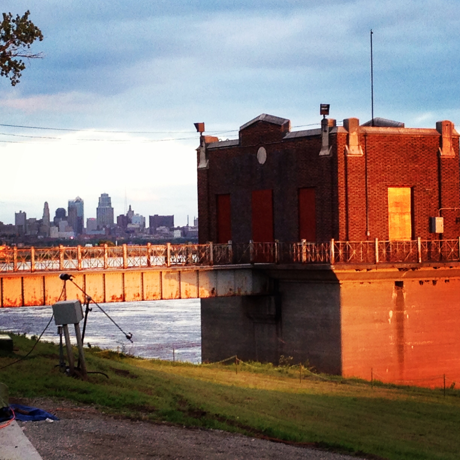 The view of Kansas City, Missouri's skyline and the river from the KCMO Water Services Department Pumphouse. Photo taken during Bridging the Gap's 20th Anniversary Party.