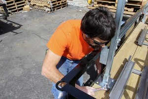 tightening racking horace mobile solar energy demo unit