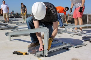 hard hat bolting in solar panel racking
