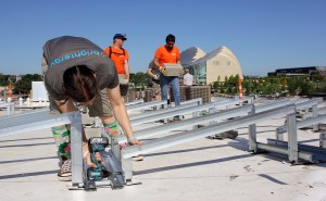 screwing in racking brightergy solar energy installation