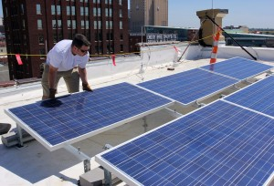 laying solar panels brightergy headquarters