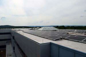 larger perspective of rooftop solar array at UMass Amherst Computer Science Center