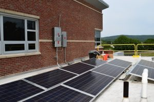 lower level of rooftop solar array at UMass Amherst Police Center
