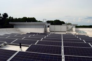 rooftop solar array at UMass Amherst Police Center