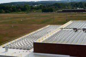 progress on the UMass Champions Center solar installation